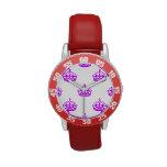 Púrpura de la corona reloj de mano