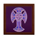 Púrpura de la cruz céltica 2 cajas de joyas