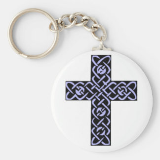 Púrpura de la cruz céltica 7 llaveros personalizados