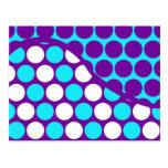 Púrpura de la diversión y modelo de onda del lunar tarjetas postales