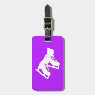 Púrpura de la etiqueta del equipaje de los patines