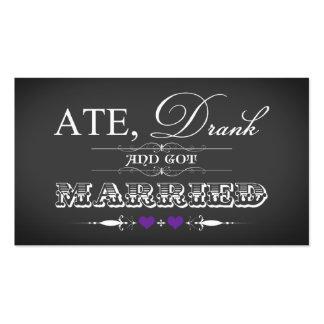 Púrpura de la etiqueta del favor del boda del esti tarjeta de visita