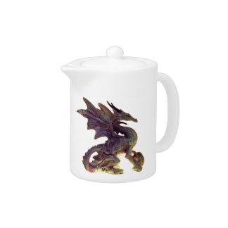 Púrpura de la fantasía y tetera del dragón del oro