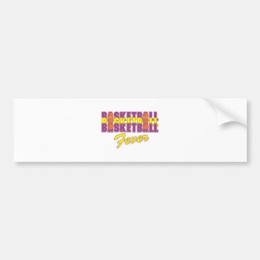 púrpura de la fiebre del baloncesto y diseño del etiqueta de parachoque