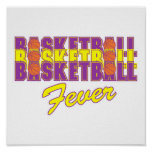 púrpura de la fiebre del baloncesto y diseño del o posters