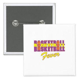 púrpura de la fiebre del baloncesto y diseño del pin cuadrada 5 cm