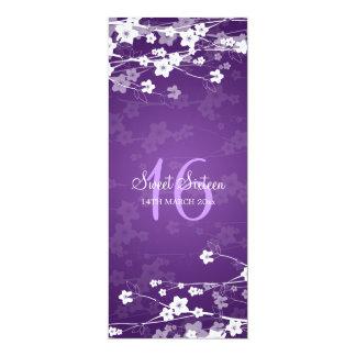 """Púrpura de la flor de cerezo del fiesta del dulce invitación 4"""" x 9.25"""""""