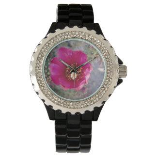 Púrpura de la flor de Cholla del bastón Reloj De Mano