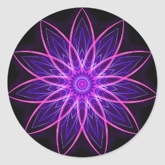 Púrpura de la flor del fractal - fractal floral ge etiquetas redondas