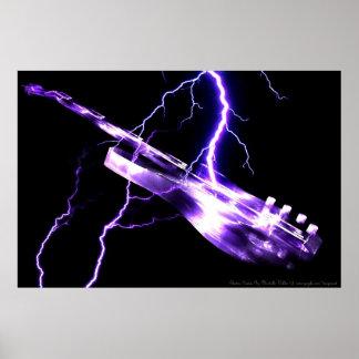 Púrpura de la GUITARRA ELÉCTRICA Póster