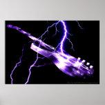 Púrpura de la GUITARRA ELÉCTRICA Posters