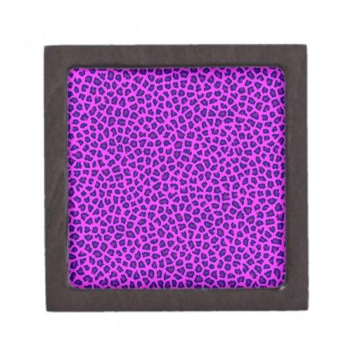 Púrpura de la impresión del guepardo en rosa caja de regalo de calidad
