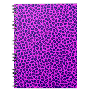 Púrpura de la impresión del guepardo en rosa spiral notebooks