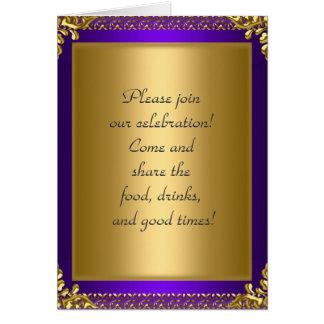 Púrpura de la invitación de la fiesta de cumpleaño felicitaciones
