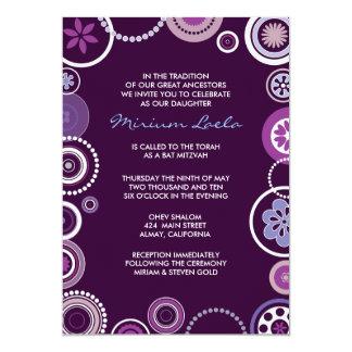 Púrpura de la invitación de Mitzvah del palo del
