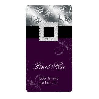 Púrpura de la joya de la etiqueta del vino del ani etiqueta de envío