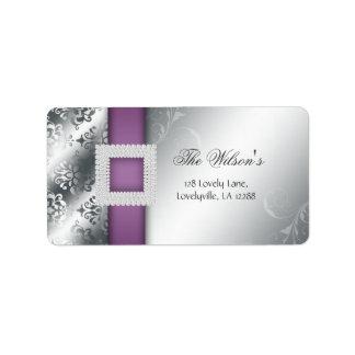 Púrpura de la joya del aniversario de bodas de etiquetas de dirección