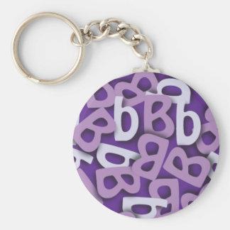 Púrpura de la letra B Llavero