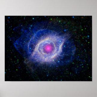 Púrpura de la NASA de la nebulosa de la hélice Póster