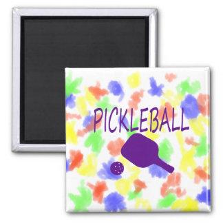 púrpura de la paleta y de la bola del pickleball w imán de frigorifico