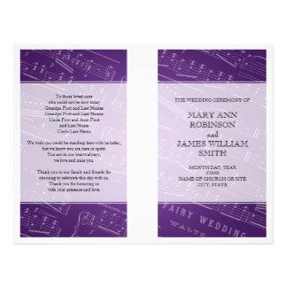 Púrpura de la partitura del programa del boda tarjetas informativas