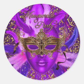 Púrpura de la pluma y pegatina del fiesta de la