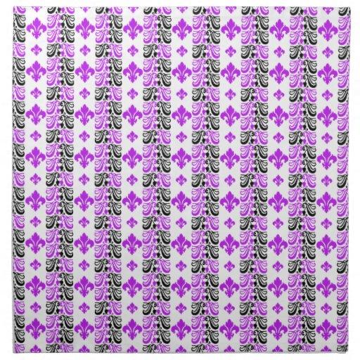 Púrpura de la raya 1a de Fleur Servilleta Imprimida