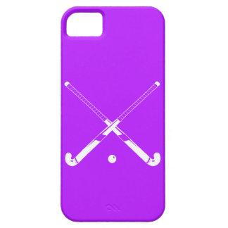 púrpura de la silueta del hockey hierba del iPhone iPhone 5 Case-Mate Cobertura