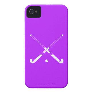 púrpura de la silueta del hockey hierba del iPhone iPhone 4 Case-Mate Funda