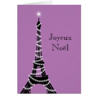Púrpura de la tarjeta de la torre Eiffel del día