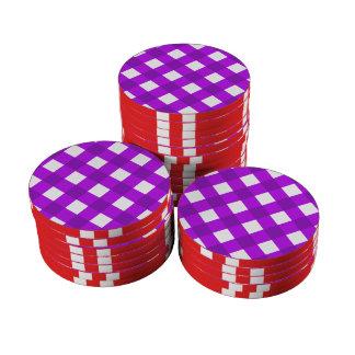 Púrpura de la tela escocesa 1 juego de fichas de póquer
