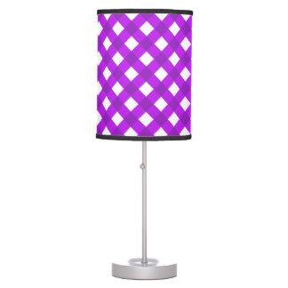 Púrpura de la tela escocesa 1 lámpara de mesilla de noche