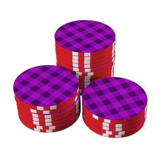 Púrpura de la tela escocesa 2 juego de fichas de póquer