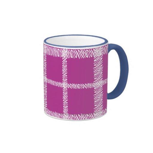 Púrpura de la tela escocesa tazas
