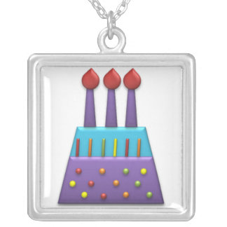 Púrpura de la torta de cumpleaños del arco iris de colgante cuadrado