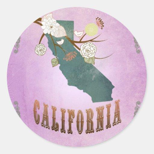 Púrpura de la uva del mapa del estado de Californi Pegatinas Redondas