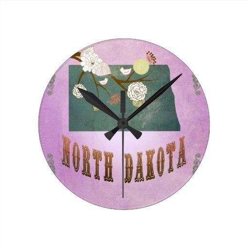 Púrpura de la uva del mapa del estado de Dakota de Relojes