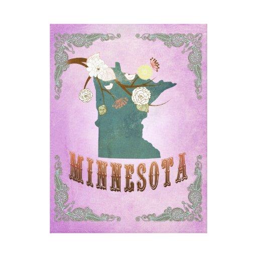 Púrpura de la uva del mapa del estado de Minnesota Lienzo Envuelto Para Galerias
