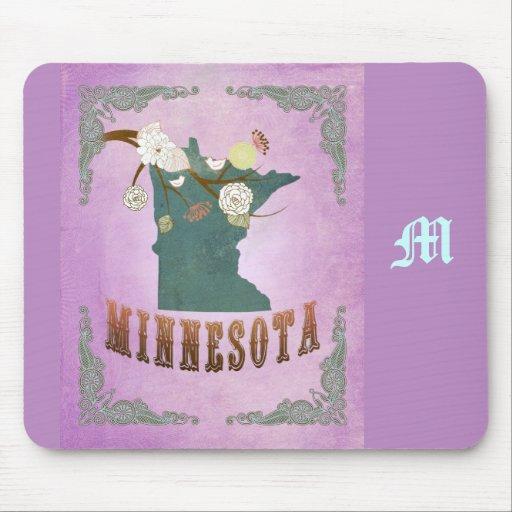 Púrpura de la uva del mapa del estado de Minnesota Tapete De Raton
