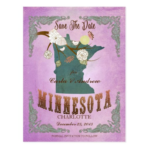 Púrpura de la uva del mapa del estado de Minnesota Tarjetas Postales