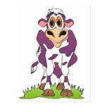 Púrpura de la vaca del dibujo animado postales