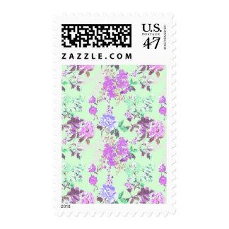 Púrpura de la verde menta del estampado de flores sellos