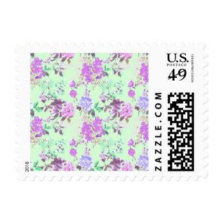 Púrpura de la verde menta del estampado de flores timbres postales