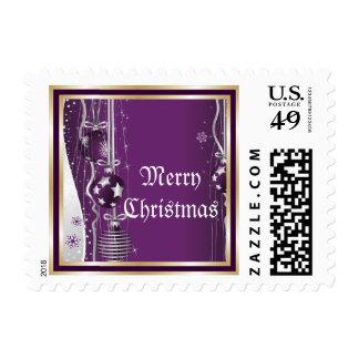 Púrpura de las bolas y de las cintas del navidad, timbres postales