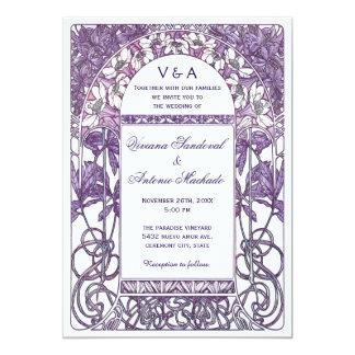 """Púrpura de las invitaciones VI del boda del Invitación 5"""" X 7"""""""