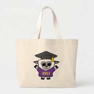 Púrpura de las ovejas del muchacho y graduado 2011 bolsa tela grande