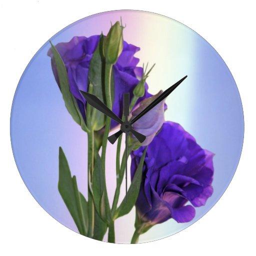 Púrpura de Lissianthus del Eustoma Reloj Redondo Grande