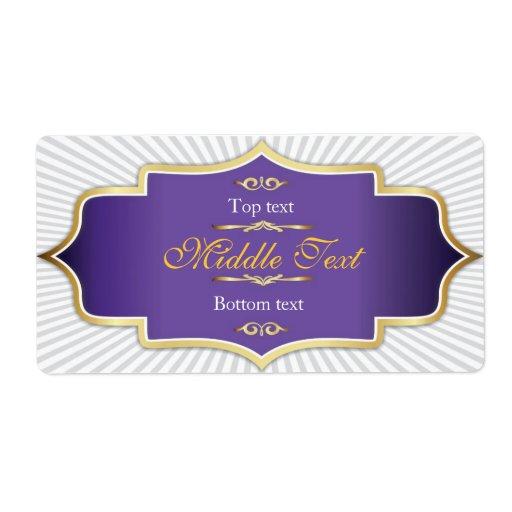 Púrpura de lujo de la etiqueta de la jalea del ata etiquetas de envío