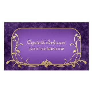 Púrpura de lujo del planificador de eventos y tarjetas de visita