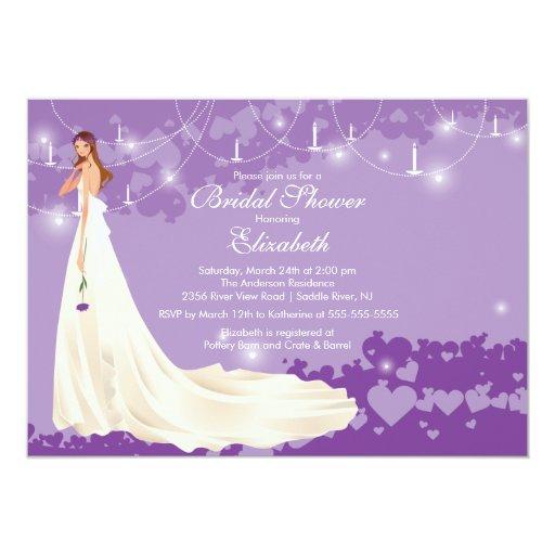 Púrpura de moda de la invitación nupcial de la